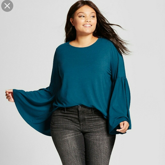 7e998a53696 Ava   Viv Teal Bell Sleeved T-shirt Plus Size 1X